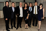 """(L-R) Actor Kim Coates, FX Network president John Landgraf, actors Ron Perlman, Katey Sagal, executive producer Kurt Sutter, Charlie Hunnam and Maggie Siff pose at a screening of FX's """"Sons of Anarchy"""" at the Cinerama Dome Theater on August 30, 2011 in Los Angeles, California."""