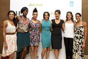 Dame Kelly Holmes with guests Adele Tracey, Lashana Lynch, Dominique Tipper, Lenora Crichlow, Charlotte Best and Tara Bird at her private screening of Fast Girls with the Women's Sports and Fitness Foundation', which was attended by members of the cast and athletes from the Aviva 'On Camp with Kelly' program, at The Mayfair Hotel on May 28, 2012 in London, England.
