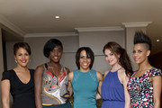 Dame Kelly Holmes (C) with guests (L-R) Lenora Crichlow, Lashana Lynch, Lily James and Dominique Tipper at her private screening of Fast Girls with the Women's Sports and Fitness Foundation' at The Mayfair Hotel on May 28, 2012 in London, England.