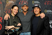 """(L-R) Director and producer Elizabeth Chai Vasarhelyi, Tim McGraw, and director, producer, and cinematographer Jimmy Chin attend the screening of """"Free Solo"""" hosted by Tim McGraw at SilverScreen Theater at the Pacific Design Center on November 11, 2018 in West Hollywood, California."""