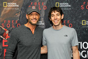 """Tim McGraw (L) and featured climber Alex Honnold attend the screening of """"Free Solo"""" hosted by Tim McGraw at SilverScreen Theater at the Pacific Design Center on November 11, 2018 in West Hollywood, California."""