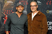 """Tim McGraw (L) and composer Marco Beltrami attend the screening of """"Free Solo"""" hosted by Tim McGraw at SilverScreen Theater at the Pacific Design Center on November 11, 2018 in West Hollywood, California."""