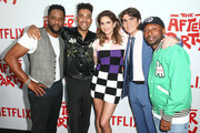 """(L-R) Blair Underwood, Kyle Harvey, Shelley Hennig, Harrison Holzer and Jordan Rock attend the screening of Netflix's """"The After Party"""" at ArcLight Hollywood on August 15, 2018 in Hollywood, California."""