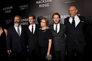 "(L-R) Director Mel Gibson, actors Andrew Garfield, Teresa Palmer, Luke Bracey, and Vince Vaughn attend the screening of Summit Entertainment's ""Hacksaw Ridge"" at Samuel Goldwyn Theater on October 24, 2016 in Beverly Hills, California."