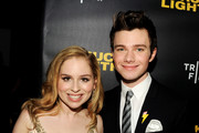 """Actress Allie Grant (L) and actor/producer/writer Chris Colfer arrive at a screening of Tribeca Film's """"Struck By Lightning"""" at the Chinese Cinema 6 Theaters on January 6, 2013 in Los Angeles, California."""