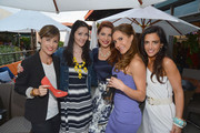 """(L-R) TV Personalities Julia Allison, Amy Laurent and Emily Morse in the Sole Society Shoe Lounge at the season premiere viewing party of Bravo's """"Miss Advised,"""" hosted by Executive Producer Ashley Tisdale held at Planet Dailies & Mixology 101 on June 18, 2012 in Los Angeles, California."""