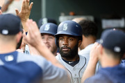 Denard Span #4 of the Seattle Mariners celebrates scoring on Dee Gordon #9 (not pictured) single in the third inning during a baseball game against the Baltimore Orioles at Oriole Park at Camden Yards on June 25, 2018 in Baltimore, Maryland.
