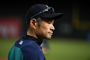 Special assistant to the Chairman Ichiro Suzuki of the Seattle Mariners participates in batting practice prior to a game against the Arizona Diamondbacks at Chase Field on August 25, 2018 in Phoenix, Arizona.