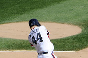 Justin Morneau #44 of the Chicago White Sox hits a tow-RBi single against the Seattle Mariners during the fourth inning on August 28, 2016 at U. S. Cellular Field in Chicago, Illinois.