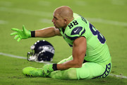 Tight end Jimmy Graham #88 of the Seattle Seahawks warms up before the NFL game against the Arizona Cardinals at the University of Phoenix Stadium on November 9, 2017 in Glendale, Arizona.