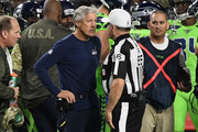 Head coach Pete Carroll of the Seattle Seahawks talks with referee Walt Anderson #66 during the NFL game against the Arizona Cardinals at University of Phoenix Stadium on November 9, 2017 in Glendale, Arizona.
