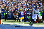 Jimmy Graham #88 of the Seattle Seahawks celebrates a touchdown during the second quarter of the game  against the Los Angeles Rams at Los Angeles Memorial Coliseum on October 8, 2017 in Los Angeles, California.