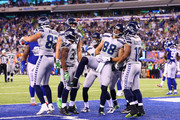 Jimmy Graham #88 of the Seattle Seahawks celebrates his touchdown with teammates during the fourth quarter of the game against the New York Giants at MetLife Stadium on October 22, 2017 in East Rutherford, New Jersey.