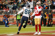 Jimmy Graham #88 of the Seattle Seahawks celebrates a touchdown against the San Francisco 49ers at Levi's Stadium on November 26, 2017 in Santa Clara, California.