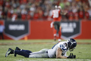 Jimmy Graham #88 of the Seattle Seahawks reacts after fumbling the ball in the fourth quarter of the game at Raymond James Stadium on November 27, 2016 in Tampa, Florida. The Buccaneers defeated the Seahawks 14-5.