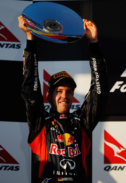 Sebastian Vettel Sebastian Vettel of Germany and Red Bull Racing celebrates finishing second during the Australian Formula One Grand Prix at the Albert Park circuit on March 18, 2012 in Melbourne, Australia.