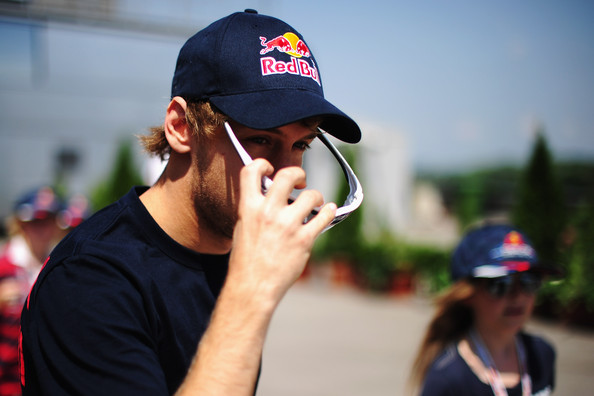 Sebastian Vettel Sebastian Vettel of Germany and Red Bull Racing is seen before the drivers parade during the Hungarian Formula One Grand Prix at the Hungaroring on August 1, 2010 in Budapest, Hungary.
