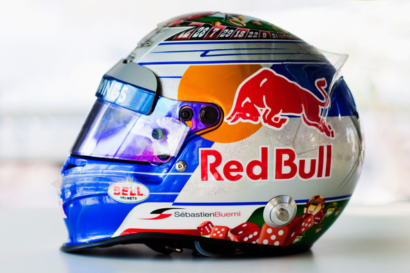 Sebastien Buemi The drivers helmet of Sebastien Buemi of Switzerland and Scuderia Toro Rosso is seen during practice for the Monaco Formula One Grand Prix at the Monte Carlo Circuit on May 26, 2011 in Monte Carlo, Monaco.