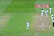 Imran Tahir of South Africa celebrates the wicket of kumar Sangakkara of Sri Lanka for 108 runs during day 3 of the 2nd Sunfoil Test match between South Africa and Sri Lanka at Sahara Park Kingsmead on December 28, 2011 in Durban, South Africa.