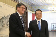 US Secretary of the Treasury Jack Lew (L) shakes hands with Chinese Premier Li Keqiang ahead of a meeting in Zhongnanhai Leadership Compound on February 29, 2016 in Beijing, China.