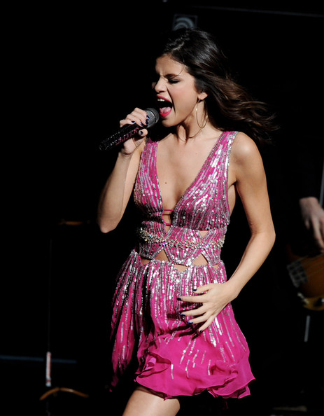 "Selena Gomez Singer Selena Gomez performs onstage at the 3rd Annual ""Concert for Hope"" presented by Staples at the Gibson Amphitheatre on March 20, 2011 in Universal City, California."