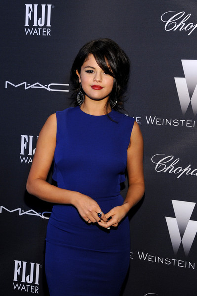FIJI Water At The Weinstein Company's Academy Awards Nominees Dinner In Partnership With Chopard, DeLeon Tequila, FIJI Water And MAC Cosmetics [clothing,dress,cocktail dress,fashion,electric blue,little black dress,premiere,black hair,neck,style,fiji water,selena gomez,nominees,partnership,academy awards,dinner,deleon tequila,chopard,the weinstein company,mac cosmetics]
