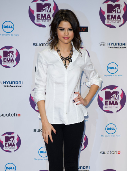 Selena Gomez MTV Europe Music Awards hostess Selena Gomez attends a MTV Europe Music Awards 2011 press conference at Odyssey Arena on November 5, 2011 in Belfast, Northern Ireland.