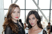 Actresses Karen Gillan (L) and Rainey Qualley attend the Self-Portrait Spring Summer 2019 New York Fashion Week on September 8, 2018 in New York City.