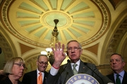 U.S. Senate Minority Leader Harry Reid (D-NV) (3rd L) speaks as (L-R) Sen. Patty Murray (D-WA), Sen. Charles Schumer (D-NY) and Senate Minority Whip Richard Durbin (D-IL) listen after the Democratic weekly policy luncheon January 20, 2016 on Capitol Hill in Washington, DC. Senate Democrats held its weekly luncheon meeting to discuss Democratic agenda.