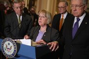 Democratic senators (L-R) Senate Minority Whip Richard Durbin (D-IL), Sen. Patty Murray (D-WA), Sen. Charles Schumer (D-NY) and Senate Minority Leader Harry Reid (D-NV) talk to reporters following their weekly policy luncheon at the U.S. Capitol April 5, 2016 in Washington, DC. Democrats and Republicans are looking to extend a key renewable tax break in the legislation to reauthorize the Federal Aviation Administration, slated to receive a vote later this week.