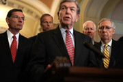 U.S. Sen. Roy Blunt (R-MO) (3rd L) speaks as (L-R) Sen. John Barrasso (R-WY), Sen. John Thune (R-SD), Senate Majority Whip Sen. John Cornyn (R-TX), and Senate Majority Leader Sen. Mitch McConnell (R-KY) listen during a news briefing after a weekly policy luncheon July 17, 2018 at the U.S. Capitol in Washington, DC. Senate GOPs participated in a weekly luncheon to discuss Republican agenda.