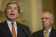 Sen. Roy Blunt (R-MO) speaks during a weekly news conference on Capitol Hill  on August 21, 2018 in Washington, DC. At right is Senate Majority Leader Mitch McConnell (R-KY).