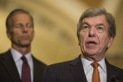 Sen. Roy Blunt (R-MO) speaks during a weekly news conference on Capitol Hill  on August 21, 2018 in Washington, DC. Also pictured is Sen. John Thune (R-SD).