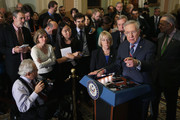 Senate Minority Leader Harry Reid (D-NV) (2nd R), Sen. Charles Schumer (D-NY) (R), Sen. Patty Murray (D-WA) and Senate Minority Whip Richard Durbin (D-IL) talk to reporters after the weekly Democratic policy luncheon at the U.S. Capitol November 10, 2015 in Washington, DC. The Senate passed the Defense Authorization Act by a vote of 91-3, sending the spending bill back to President Barack Obama with language that will make it hard for him to close the military prison at Guantanamo before he leaves office in 2017.