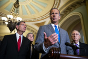 Sen. John Thune (R-SD) speaks beside  beside Sen. John Barrasso (R-WY), Sen. Roy Blunt (R-MO), and U.S. Senate Majority Leader Sen. Mitch McConnell (R-KY) during a news conference, following the weekly Senate Republican's policy luncheon, on Capitol Hill, on July 24, 2018 in Washington, DC.