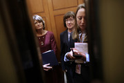 Sen. Lisa Murkowski (R-AK) (L) and Sen. Susan Collins (R-ME) share an elevator as they head for the weekly Senate Republican policy luncheon at the U.S. Capitol October 02, 2018 in Washington, DC. Senate GOP leaders agreed last week with the Judiciary Committee to allow the FBI to conduct a one-week investigation into sexual assault allegations against Supreme Court nominee Judge Brett Kavanaugh before the Senate votes on his confirmation.