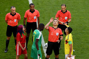 Referee Milorad Mazic performs the toin coss prior to the 2018 FIFA World Cup Russia group H match between Senegal and Colombia at Samara Arena on June 28, 2018 in Samara, Russia.