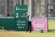 Thaworn Wiratchant of Thailand plays his first shot on the 2nd tee during the Practice Round ahead of The Senior Open presented by Rolex at The Old Course on July 25, 2018 in St Andrews, Scotland.