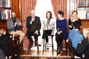 """Director Ritesh Batra, Jim Boardbent, Michelle Dockery, Harriet Walter and Dr. Amanda Foreman attend the """"The Sense of an Ending"""" Lunch & Q and A at The Lotus Club on March 7, 2017 in New York City."""