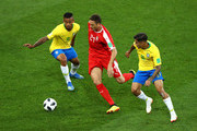 Philippe Coutinho and Gabriel Jesus of Brazil challenge Nemanja Matic of Serbia during the 2018 FIFA World Cup Russia group E match between Serbia and Brazil at Spartak Stadium on June 27, 2018 in Moscow, Russia.