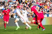 Sacha Kljestan #16 of the United States passes the ball against Serbia in the second half of the match at Qualcomm Stadium on January 29, 2017 in San Diego, California.