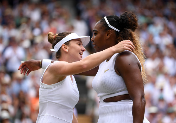 Day Twelve: The Championships - Wimbledon 2019 [ladies singles,championship,competition event,fun,gesture,muscle,photography,sports,sport venue,tennis player,player,serena williams,simona halep,embrace,united states,romania,england,wimbledon,championships,final]