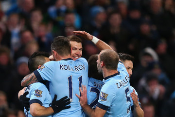 Sergio Aguero Edin Dzeko Manchester City v Newcastle United - Premier League