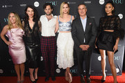 "(L-R)  Author Caroline Kepnes, Executive Producer Sera Gamble, Penn Badgley, Elizabeth Lail, President A+E Networks Paul Buccieri and Shay Mitchell attend the ""You"" Series Premiere Celebration hosted by Lifetime on September 6, 2018 in New York City."