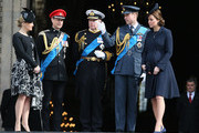 (L-R) Sophie, Countess of Wessex, Prince Edward, Earl of Wessex, Prince Andrew, Duke of York, Prince William, Duke of Cambridge and Catherine, Duchess of Cambridge chat as they leave St Paul's Cathedral after a Service of Commemoration for troops who were stationed in Afghanistan on March 13, 2015 in London, England.