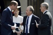 Prince William, Duke of Cambridge, David Armstrong-Jones and Prince Andrew, Duke of York speak as they leave a Service of Thanksgiving for the life and work of Lord Snowdon at Westminster Abbey on April 7, 2017 in London, United Kingdom.