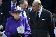 Queen Elizabeth II and Prince Philip, Duke of Edinburgh leave a Service of Thanksgiving for the life and work of Lord Snowdon at Westminster Abbey on April 7, 2017 in London, United Kingdom.