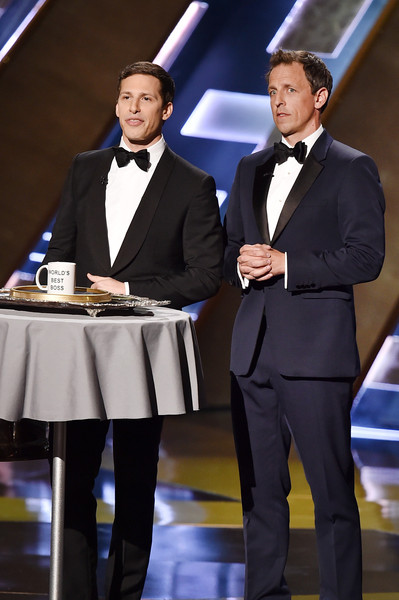 67th Annual Primetime Emmy Awards - Show [suit,formal wear,tuxedo,event,white-collar worker,businessperson,andy samberg,seth meyers,california,los angeles,microsoft theater,l,primetime emmy awards,show]