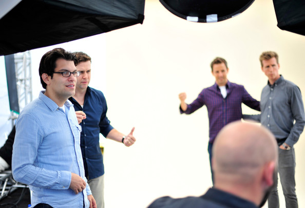 """Comic-Con For """"The Awesomes"""" [the awesomes,blue,yellow,product,conversation,community,event,white-collar worker,design,interaction,businessperson,dan mintz,taran killam,actors,seth meyers,josh meyers,l-r,hulu,photobooth,comic-con]"""