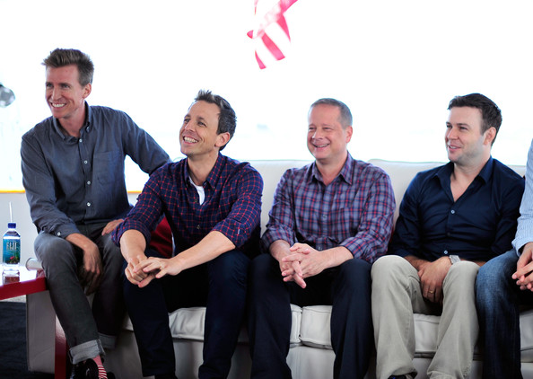 """Comic-Con For """"The Awesomes"""" [the awesomes,social group,team,event,sitting,design,company,white-collar worker,management,smile,businessperson,michael shoemaker,taran killam,actors,writer,co-creator,seth meyers,l-r,hulu,comic-con]"""